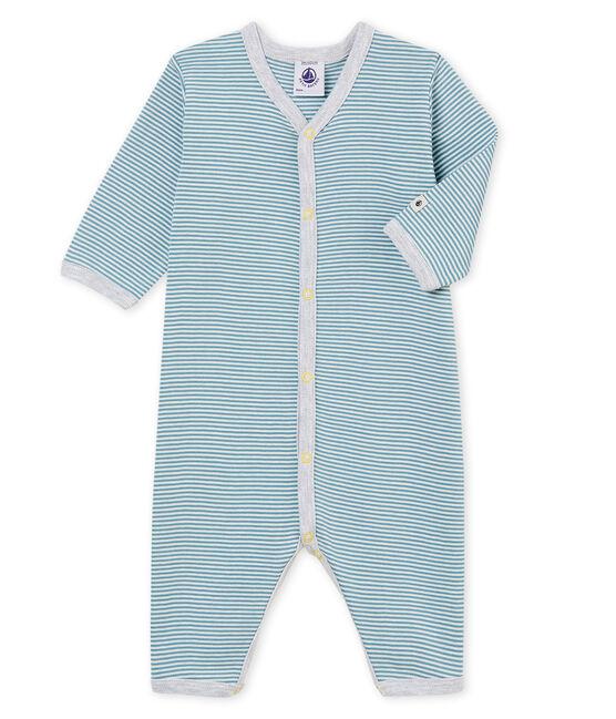 Dors bien sans pieds bébé garçon en côte bleu Fontaine / blanc Marshmallow
