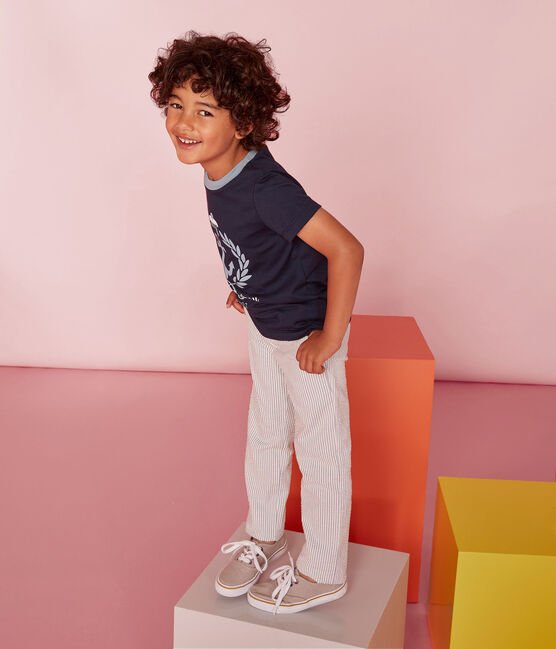 Pantalon enfant garçon bleu Fontaine / blanc Marshmallow