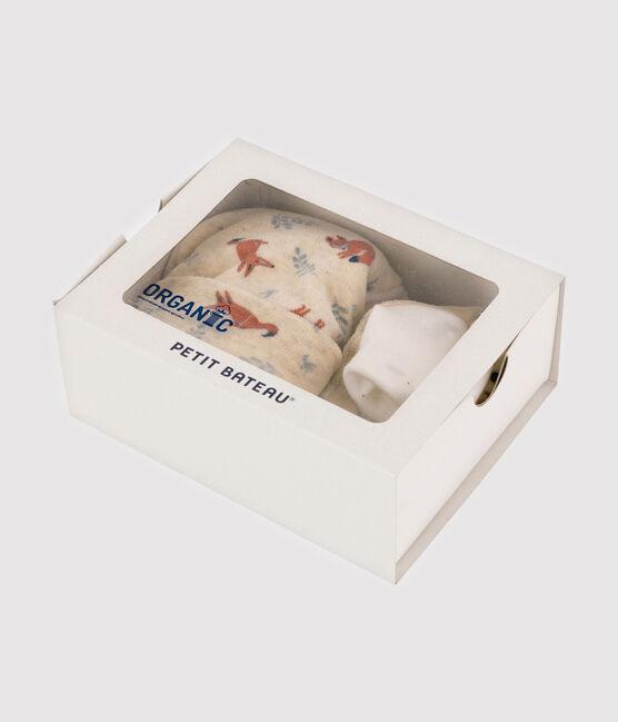 Lot bonnet naissance et chaussons renard bébé garçon en velours beige Montelimar / blanc Multico