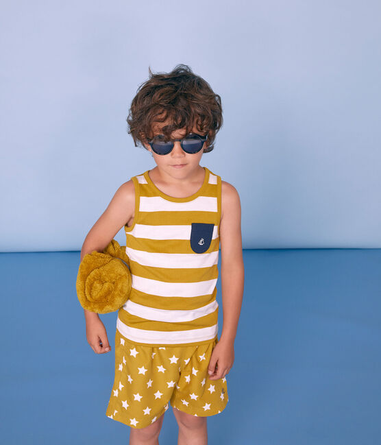 Débardeur enfant garçon jaune Bamboo / blanc Marshmallow