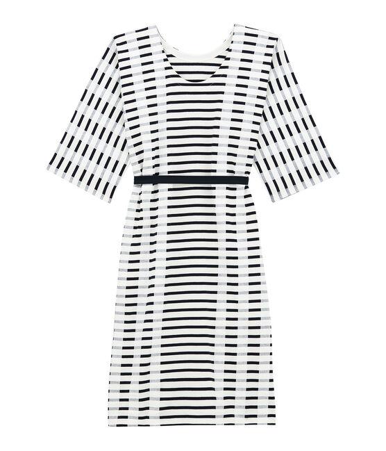 Robe kimono pour femme blanc Marshmallow / bleu Smoking