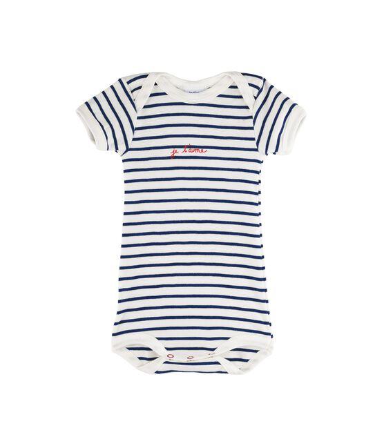 Body manches courtes bébé fille - bébé garçon blanc Marshmallow / bleu Medieval