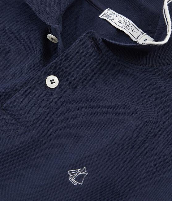 Polo manches courtes 100% coton jersey piqué. bleu Smoking