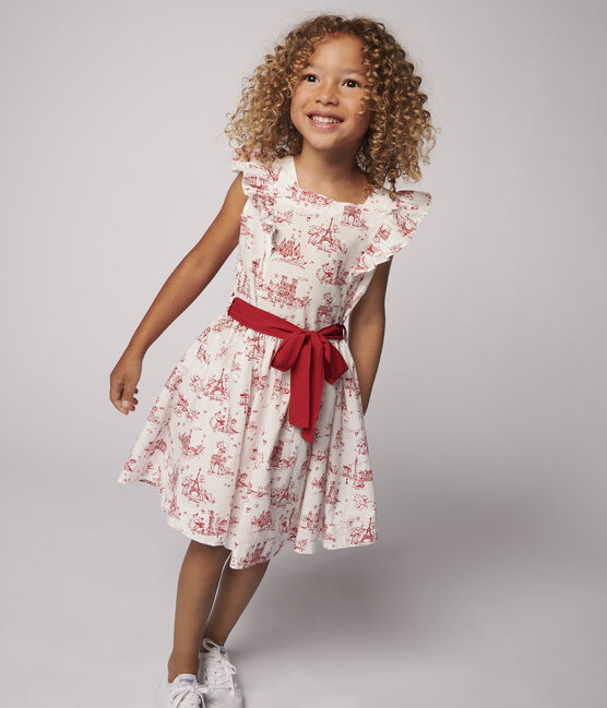 Robe manches courtes en popeline enfant fille blanc Marshmallow / rouge Terkuit