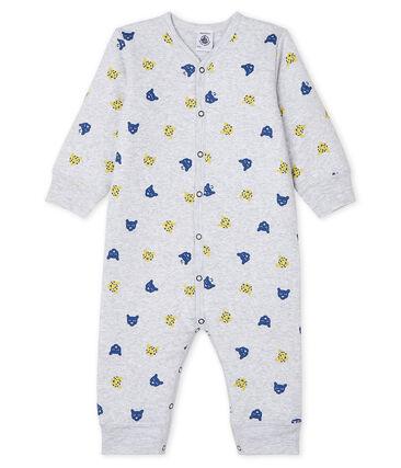 Dors Bien sans pieds bébé garçon en côte ouatinée gris Poussiere / blanc Multico
