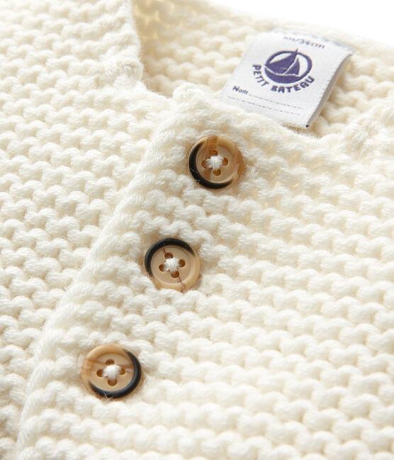 Cardigan bébé mixte laine et coton blanc Lait