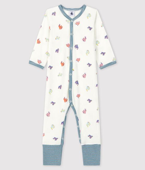 Dors-bien sans pieds à imprimé gorilles bébé en côte blanc Marshmallow / blanc Multico