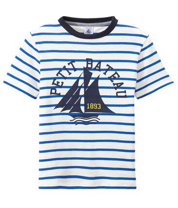T-shirt garçon rayé et sérigraphié blanc Marshmallow / bleu Perse