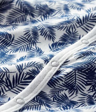 Dors bien bébé en côte blanc Marshmallow / bleu Medieval