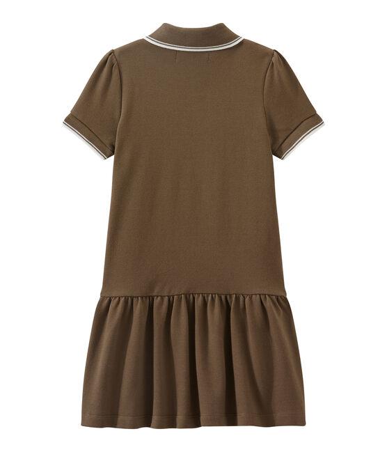 Robe enfant fille à manches courtes marron Shitake