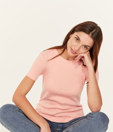 Tee-shirt manches courtes col rond femme rose Rosako