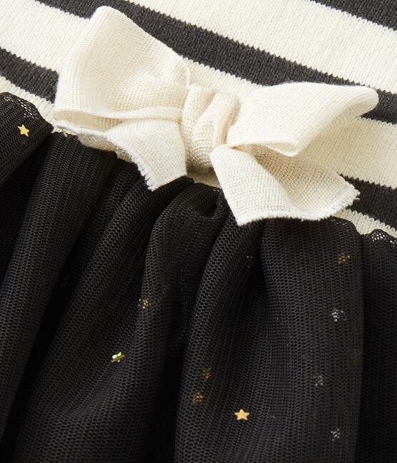 Robe bébé fille bi-matière beige Coquille / gris Capecod
