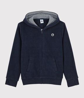 Sweatshirt à capuche en polaire enfant garçon bleu Smoking