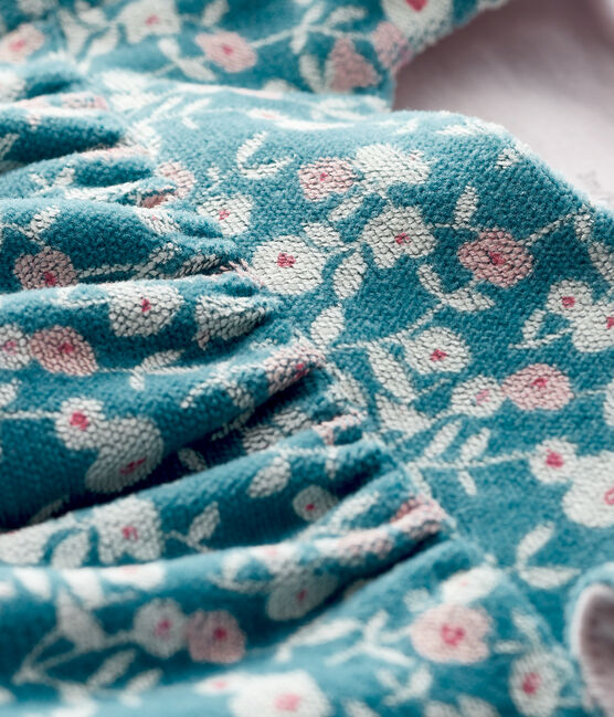 Robe manches longues fleurie bébé fille en velours MOZAIK/MULTICO