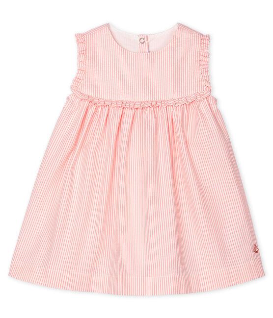 Robe sans manches bébé fille rayée blanc Marshmallow / rose Rosako
