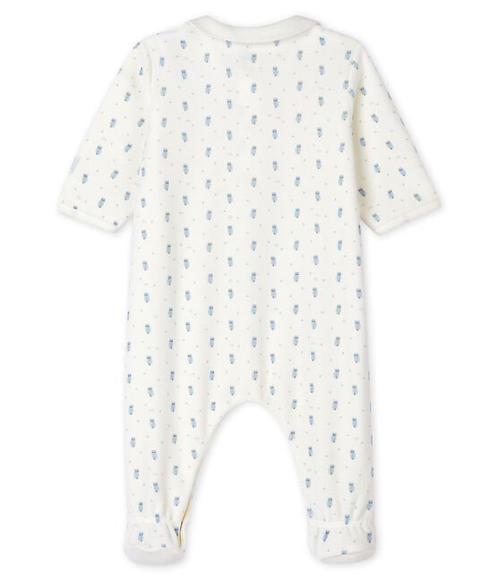 Dors-bien bleu à col bébé en velours blanc Marshmallow / blanc Multico