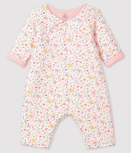 Combinaison longue bébé en côte blanc Marshmallow / blanc Multico