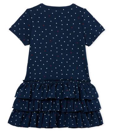 Robe manches courtes bébé fille imprimée bleu Haddock / blanc Multico