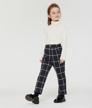 Pantalon maille à carreaux enfant fille