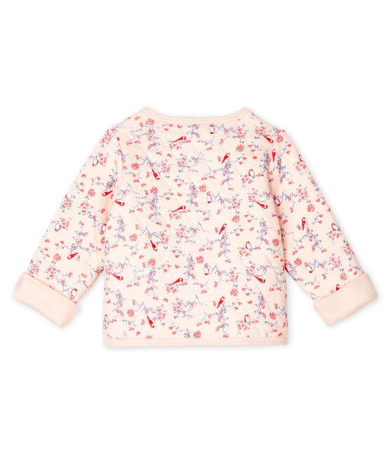 Cardigan bébé en tubique matelassé rose Fleur / blanc Multico