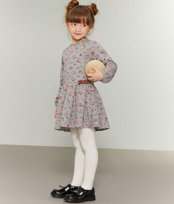 Robe imprimée enfant fille gris Beluga / blanc Multico