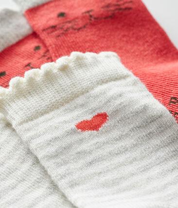 Lot de 2 paires de chaussettes bébé fille rouge Signal