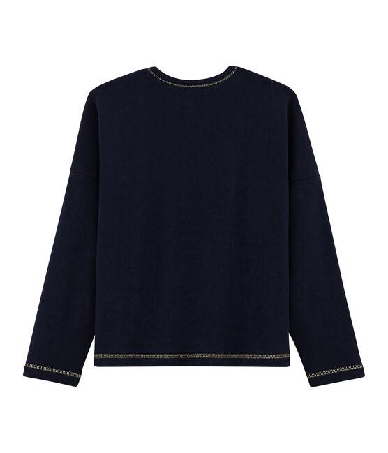 Tee-shirt sérigraphié enfant fille bleu Smoking