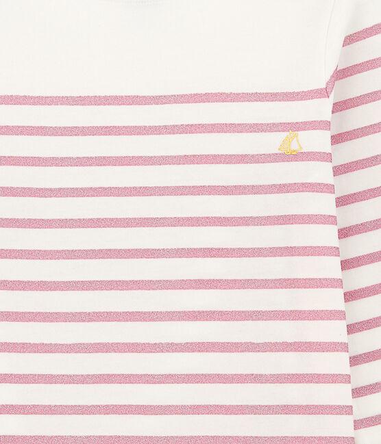 Tee-shirt fille manche longue blanc Marshmallow / rose Babylone