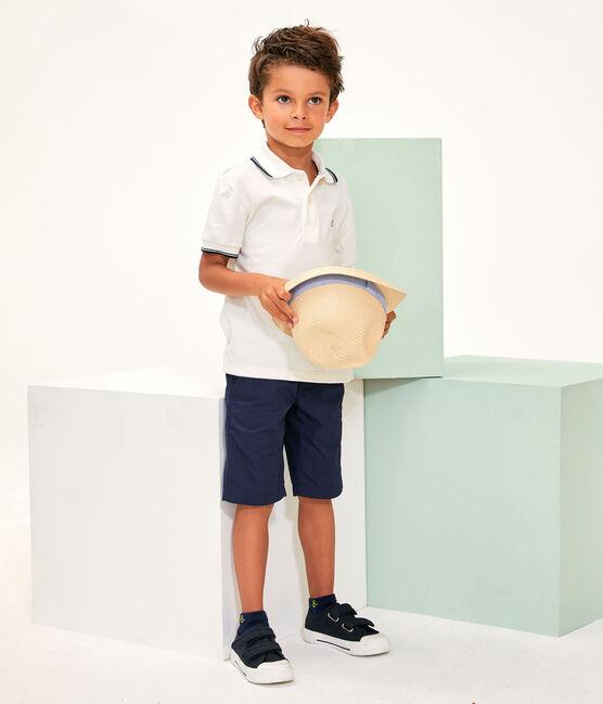 Polo enfant garcon blanc Marshmallow