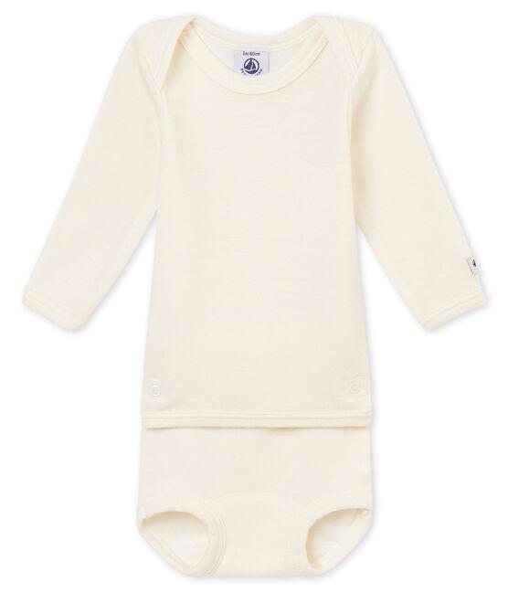 Body manches longues 2 en 1 bébé mixte en laine et coton beige Ecru