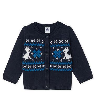 Cardigan bébé garçon laine et coton bleu Smoking / blanc Multico