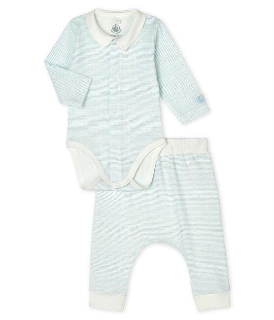 Ensemble 2 pièces bébé garçon en côte blanc Marshmallow / bleu Jasmin