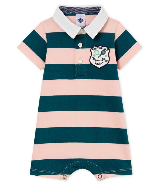Combicourt polo bébé garçon rayé vert Pinede / rose Rosako