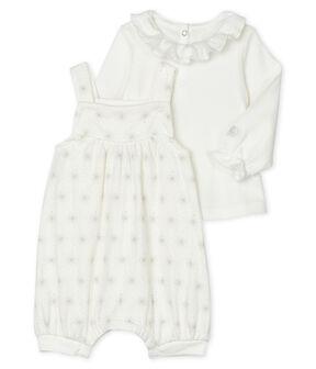 Ensemble 2 pièces bébé fille blanc Marshmallow / beige Perlin