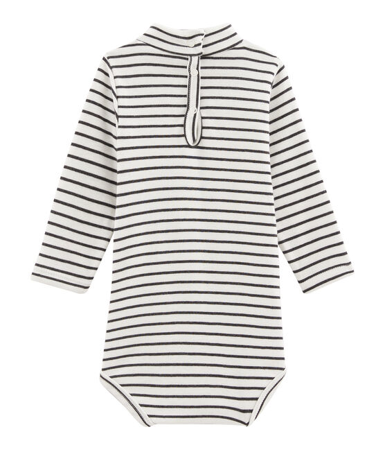 Body manches longues col roulé bébé mixte blanc Marshmallow / noir City