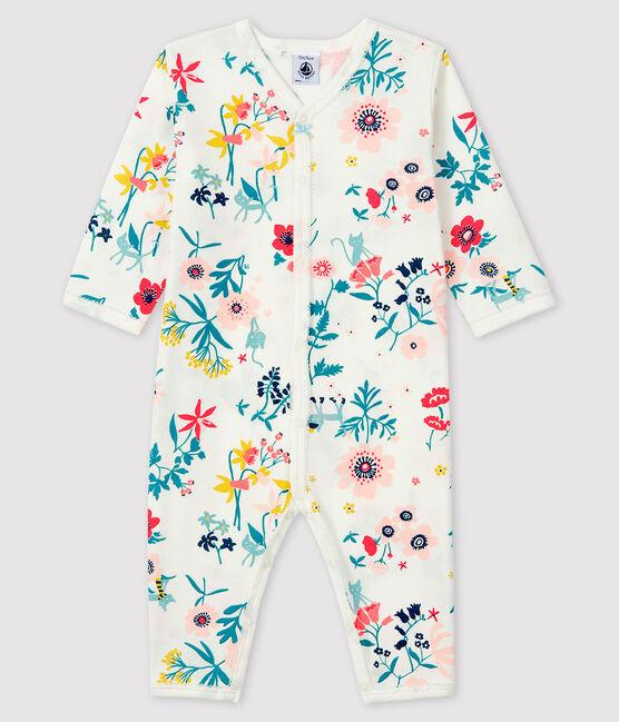 Dors-bien à imprimé fleuri sans pieds bébé fille en côte blanc Marshmallow / blanc Multico