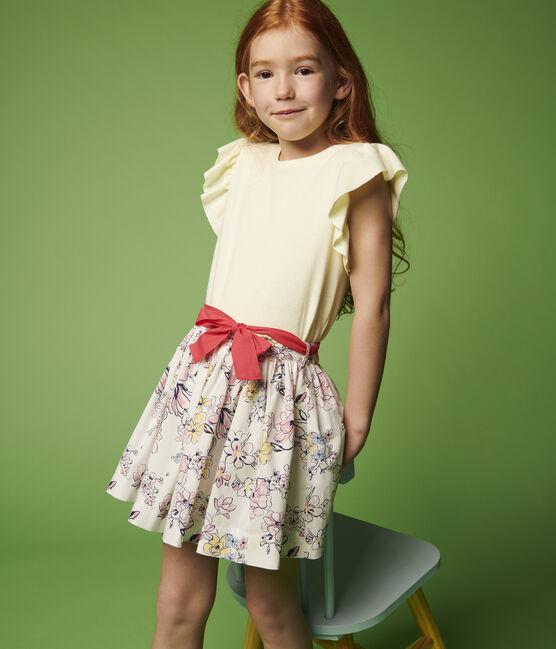 Jupe en popeline enfant fille blanc Marshmallow / blanc Multico