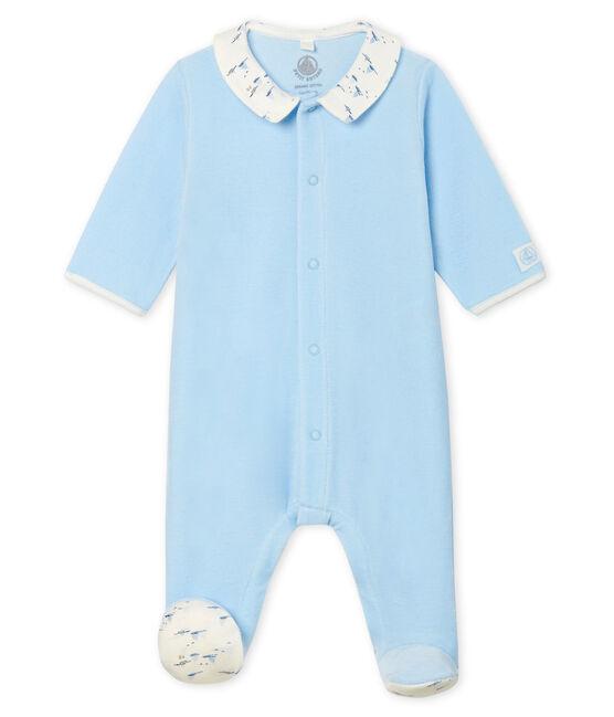 Dors bien bébé garçon en velours bleu Toudou