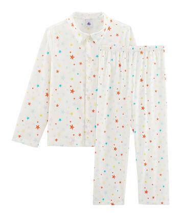 Pyjama petit garçon en twill blanc Marshmallow / blanc Multico