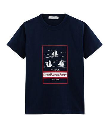 Tee-shirt mixte motif carte postale bleu Haddock