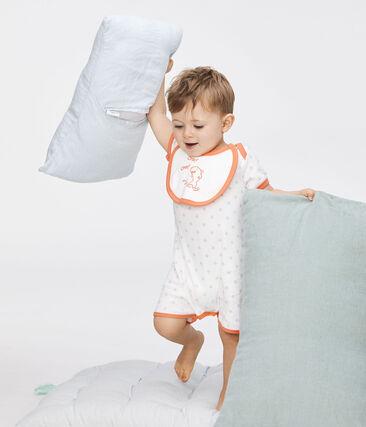 Combicourt bébé garçon en côte blanc Marshmallow / vert Verglas