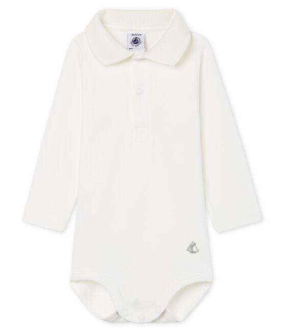 Body manches longues avec col polo bébé garçon blanc Marshmallow