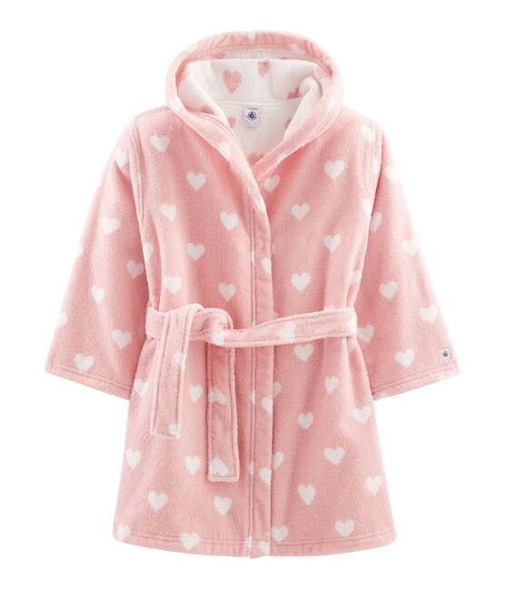 Peignoir petite fille en éponge rose Charme / blanc Marshmallow
