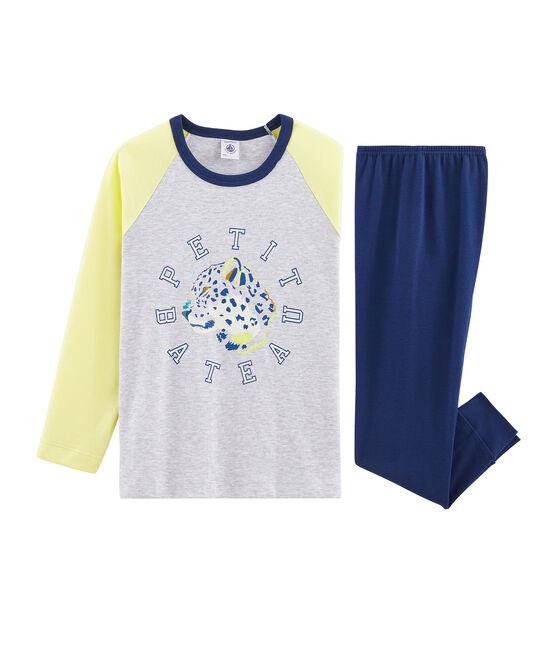 Pyjama petit garçon en côte bleu Medieval / blanc Multico