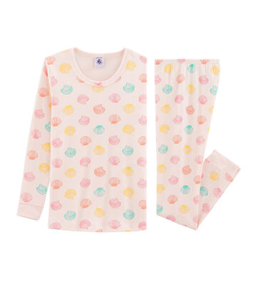 Pyjama petite fille coupe très ajustée rose Fleur / blanc Multico