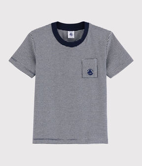 Tee-shirt manches courtes en coton enfant garçon bleu Smoking / blanc Marshmallow