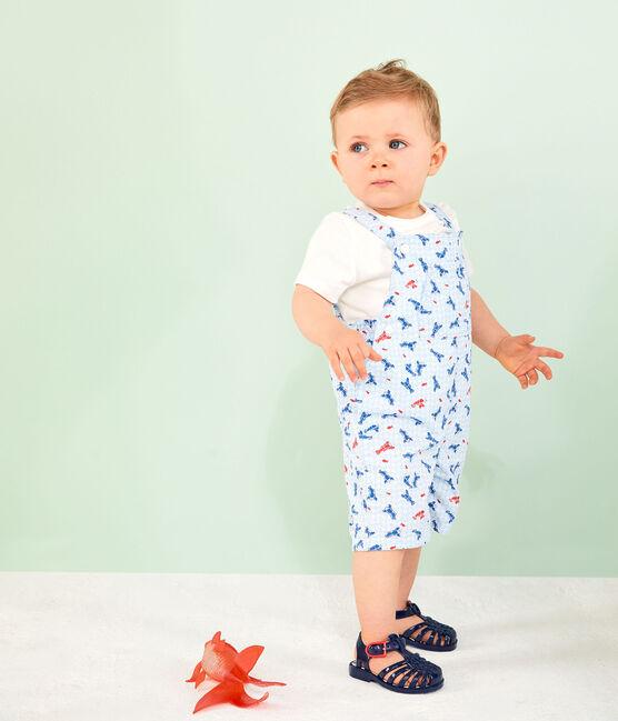 Salopette courte imprimée bébé garçon blanc Marshmallow / blanc Multico