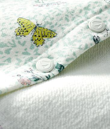 Cardigan bébé fille en molleton imprimé blanc Marshmallow / blanc Multico