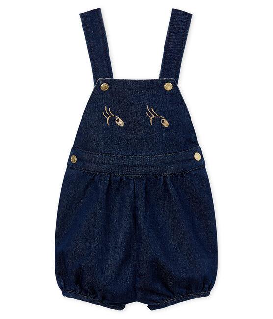 Salopette courte en maille bébé fille bleu Medieval / beige Ecru Cn