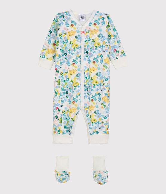 Ensemble nuit à fleurs bébé fille en molleton blanc Marshmallow / blanc Multico